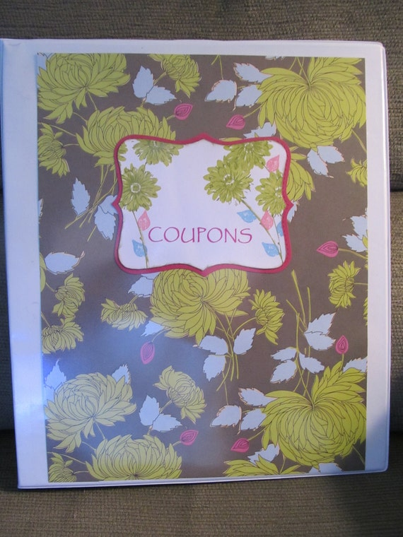 Coupon Organizer (binder) (SALE PRICE) decorated with green flowers, pink and blue leaves