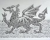 Welsh Dragon- Original Arabic Calligraphy Print NQ034