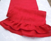 Burlap Table Runner with Double Ruffles, Red Burlap, Ready to Ship