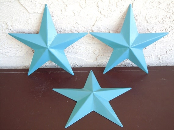 Turquoise french bleu metal stars shabby chic by for Decoration bleu turquoise