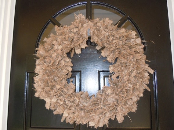 Rustic Brown Burlap Wreath, Custom Colors and Sizes Available
