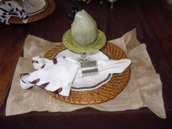 Burlap Ruffle Squares, Placemats, Centerpiece Mats, Home Decor, Wedding, Party, Custom Sizes Available