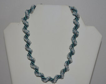 Blue, Black and White Beaded Spiral Crochet Necklace