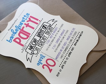 CUSTOM PARTY INVITATION- Example shown: Bachelorette party. (pdf file)