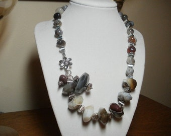 Botswana Agate Necklace with Sterling Silver Clasp