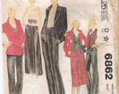 McCalls 6862 Womens Jacket Pattern Vest Pattern Top Skirt Pants Patterns 70s Womens Size 18 COMPLETE Vintage Craft Supplies YacketUSA
