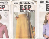 """MOVED to VintageYacketUSA 1970s Top Pattern Skirt Patterns Lot of 2 70s Simplicity 8112, 9025 E.S.P. Size 14,16,18, Bust 36-38"""" COMPLETE"""