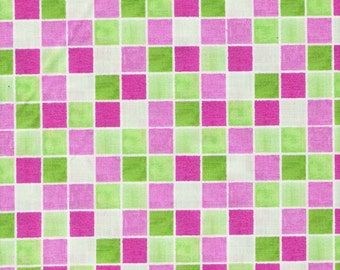 Lime Green Fabric Hot Pink Fabric Cream Checked Fabric Fat Quarters - also BTY Cotton Quilting Fabric Supplies YacketUSA