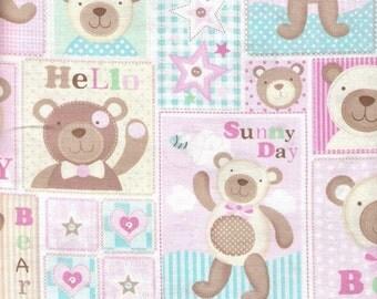 Pink Fabric Teddy Bear Baby Block Fabric Beige Polka Dots 2 3/4 Yards Juvinile Fabric  Quilt Fabric Cotton Fabric Sewing Supplies YacketUSA