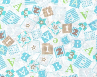 Blue Fabric Baby Blocks Fabric Bear Hugs Fabric Beige Fabric 2 1/3 Yards Juvinile Fabrics Quilting Cotton Fabric Sewing Supplies YacketUSA