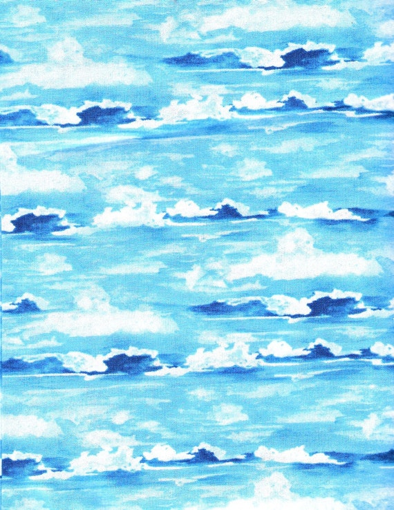 Blue on Blue Fabric White Ocean Waves Fabric Beach Fabric Yardage Fat Quarters Cotton Fabric Quilting Fabric Sewing Supplies YacketUSA