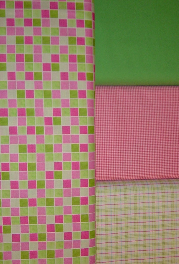 "Pink Fabric Checked  Fabric Solid Green Fabric Cotton Fabric 4 Fabric Collection 44"" x 4 Yards Quilting Fabric Lot, YacketUSA"