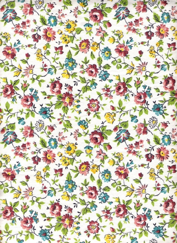 RESERVED - Antique White Yellow Blue Floral Fabric Waverly Old One Hundred Cotton Fabric By The Yard Vintage Craft Supplies YacketUSA