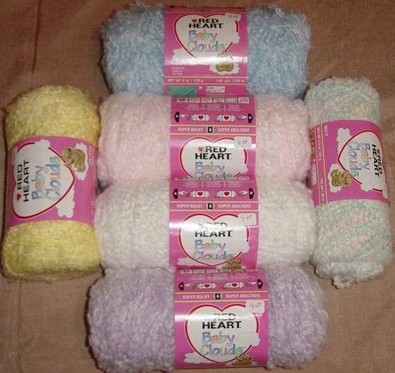 Knitting Patterns For Baby Clouds Yarn : SALE Red Heart Yarn Baby Clouds Yarn Two Skeins Knitting Yarn
