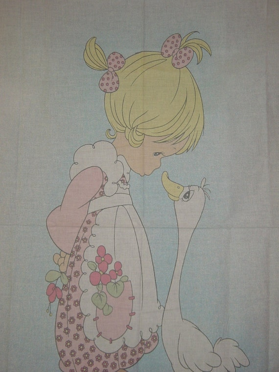 Precious Moments Goose Girl Baby Quilt Top Fabric Panel