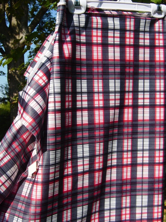 "Red Plaid Fabric Red Black White Fabric 1970s Polyester Fabric Retro 1 1/ 3 yard 56"" Last Piece, Vintage Craft Supplies YacketUSA"