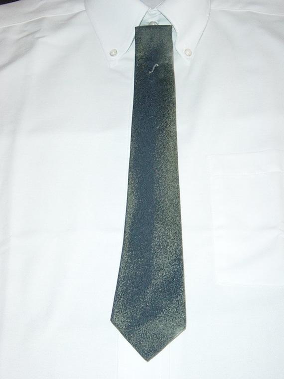 """Men's Necktie Charcoal Gray Silver White """"S""""  54"""" X 2 1/4"""" Mad Men Neck Tie Vintage YacketUSA"""