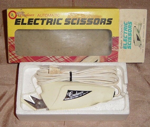 Cadaux Automatic Electric Scissors, Original Box Vintage Craft Supplies YacketUSA