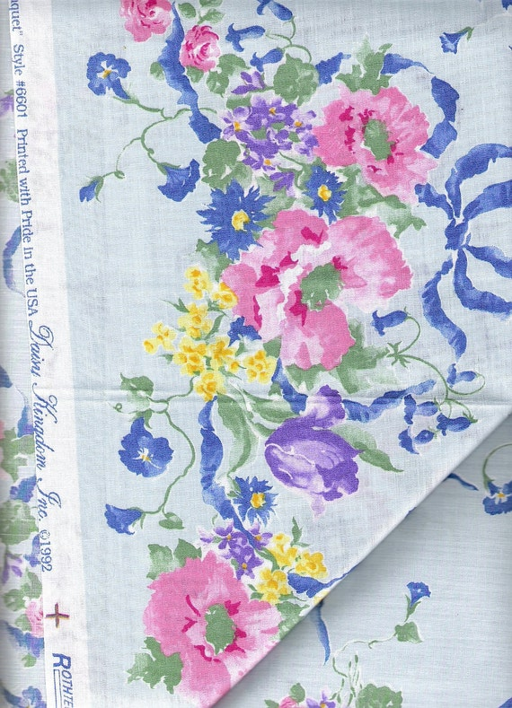 """Reserved for Daisy Only - Blue Pink Floral Cotton Fabric 1992 Daisy Kingdom Fabric, Border Print Garden Bouquet, 45"""" Fabric BTY, YacketUSA"""