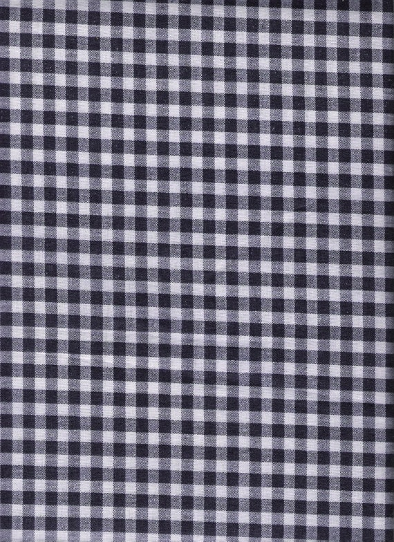 """Vintage Fabric, Cotton Poly Blend, Navy and White Check, Gingham, Print, 42"""", 2 Yards, Vintage Fabric"""