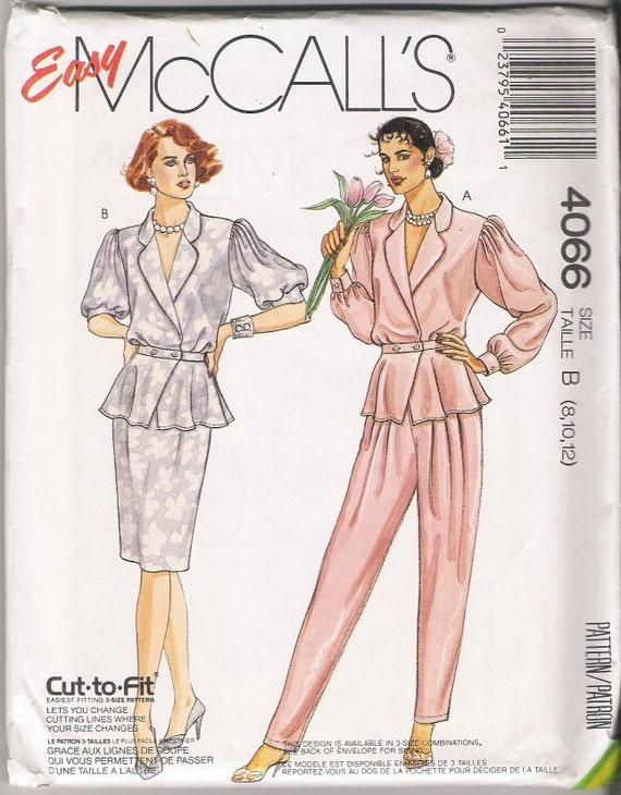 Mccalls 4066 Pants Patterns Top Pattern Skirt Patterns 1980s Patterns Womens Size 8-10-12 Uncut Patterns Sewing Vintage Supplies YacketUSA