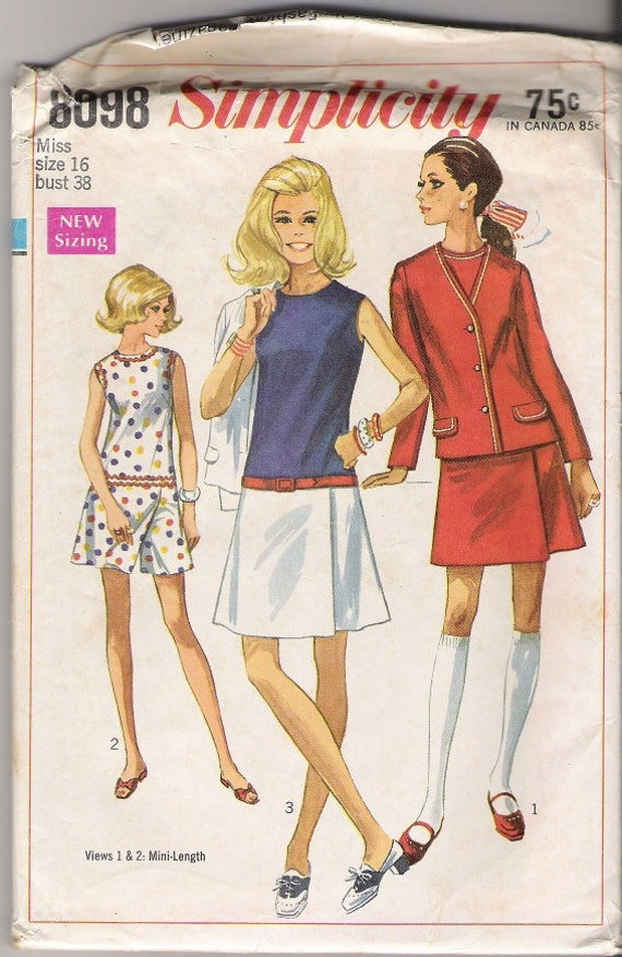 60s Misses Culotte Patterns Dress with Jacket Pattern, 1960s Simplicity 8098 Size 16, COMPLETE Vintage Craft Supplies YacketUSA