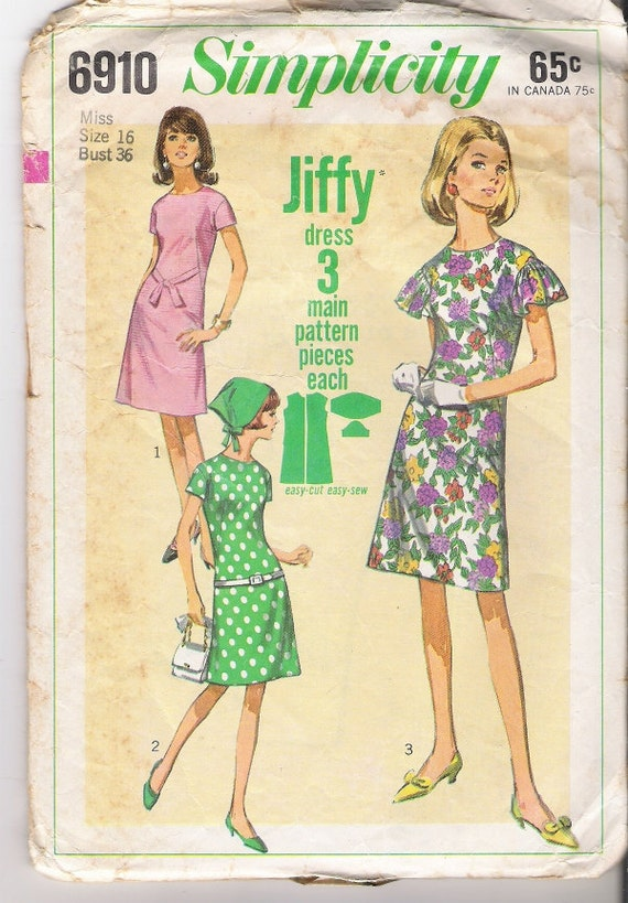 1960s Womens One Piece Dress Patterns Ruffle Sleeve 60s Pattern, Simplicity 6910 Size 16, COMPLETE Vintage Craft Supplies YacketUSA