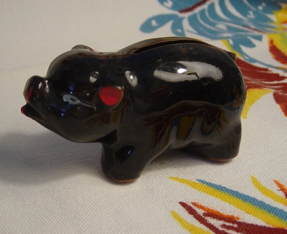 Vintage Piggy Bank Pottery Redware Pig Made in Japan Small Piggy Bank 1940s Maybe  Vintage YacketUSA