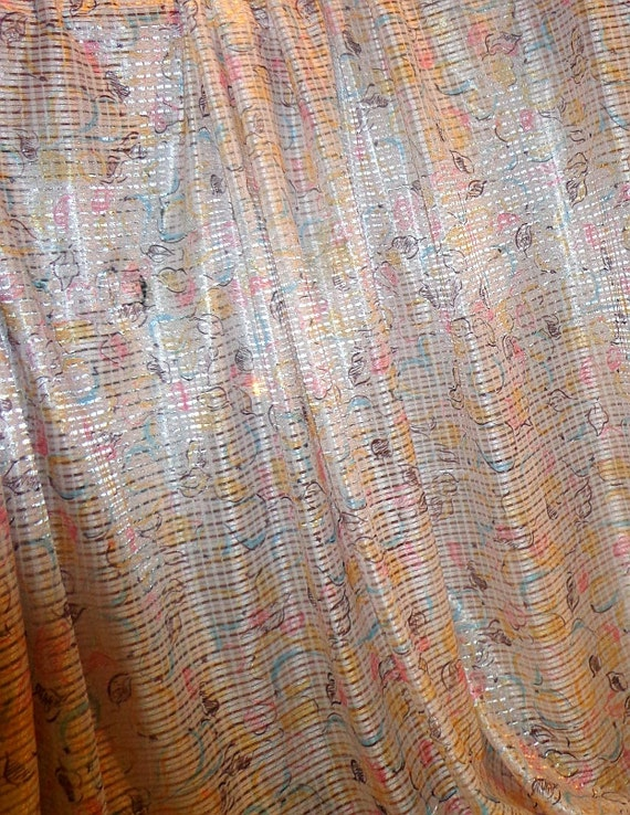 """Shear Pink Fabric Floral Blue Yellow Pastel Fabric Sexy Fabric Silky Synthetic 60"""" 1 1/4 Yards Last Piece, Vintage Supplies YacketUSA"""