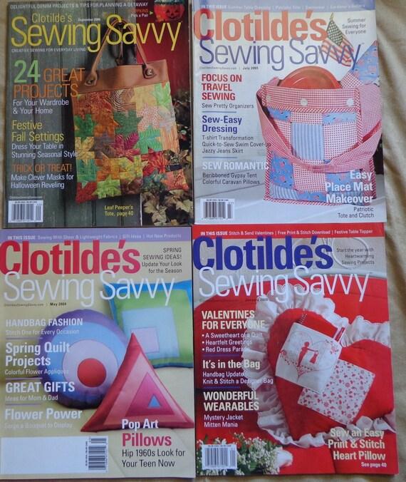 50% Off Sale - Clotilde's Sewing Savvy Magazine Collection, 2004-2006, Five 5 Craft Magazines Lot Craft Supplies YacketUSA