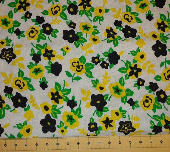 "White Fabric Black Green Yellow Floral Fabric Linen Like Fabric Cotton Fabric 36"" Fabric 1 Yard Available Vintage YacketUSA"