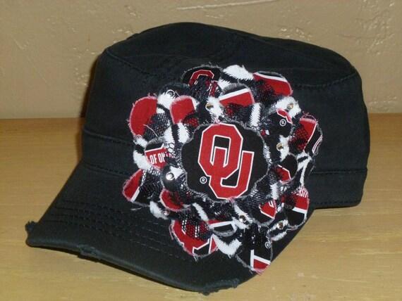 University of Oklahoma Sooners Military Style Frayed Flower Hat