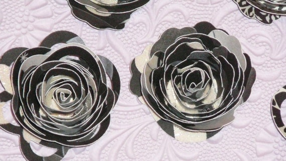 NEW Lace and cactus spiral roses, black, white and grey glittered paper Large blooms