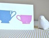 His and Hers Mugs - Wedding/Engagement Card (Handmade)