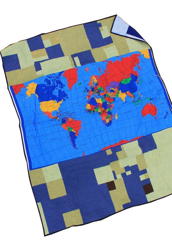 Flannel World Map Scrap Quilt