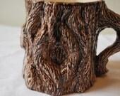 Brown tree handmade vintage mug. Nature pottery cup. 1981. Nowell's Molds ceramic