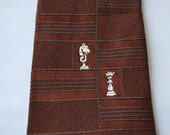 """FREE SHIPPING Vintage """"Smoothie"""" Brown Button Down Tie - Chess"""
