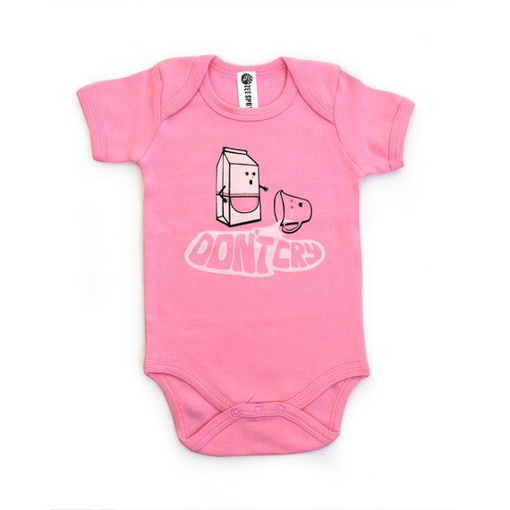 Don't Cry Fairly-traded Certified Organic Cotton Baby Onesie: PASTEL PINK 6-12 month short sleeve