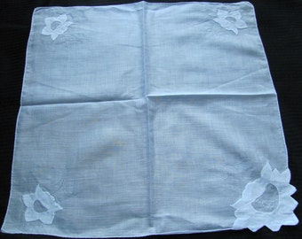 Large Lovely White Hankie Appliqued Hand Rolled