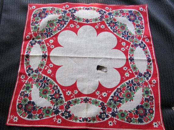 Pretty Colorful Linen Vintage Hankie - New with Tag