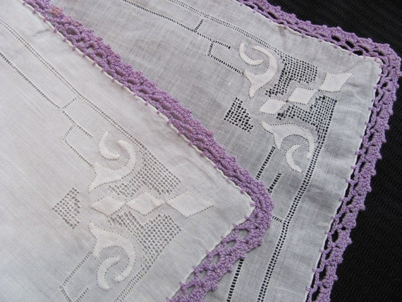 Vintage Solid White with Purple Crocheted Trim Cotton Hankie