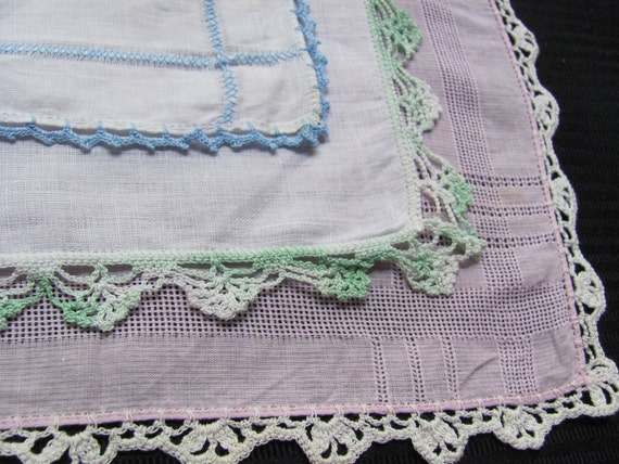 Lot of 3 Cotton Hankies with Crocheted Edges