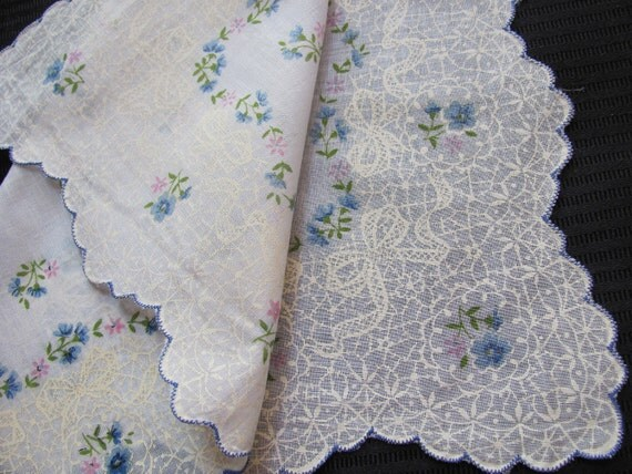 Beautiful White Blue Floral Cotton Hankie Handkerchief - Unused NOS