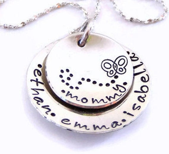 Sterling silver hand stamped personalized mommy necklace