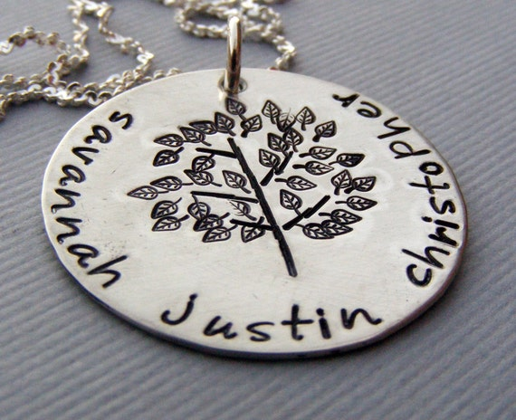 Family tree mothers necklace-hand stamped- personalized family name-childrens names-mommy jewelry
