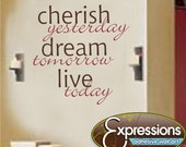 Cherish Dream Live vinyl wall quote phrase decal family removable art - 31x30