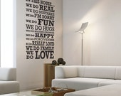 In This House LARGE - wall monogram phrase decal quote vinyl wall art