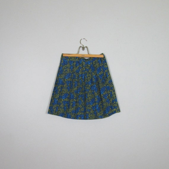 1960s Pleated Painterly/Floral Mini Skirt