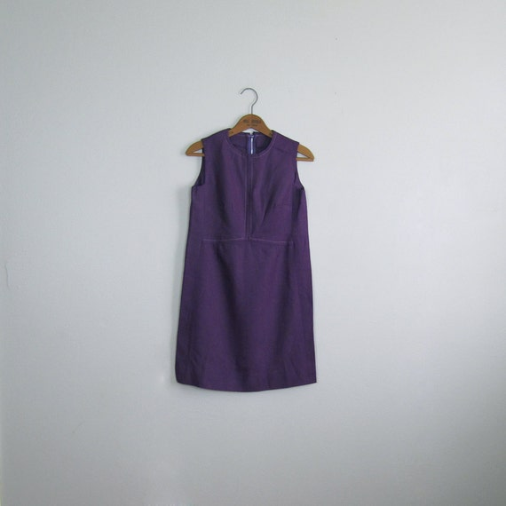 1960s Mini Shift in Plum with Delicate Pink Stitching