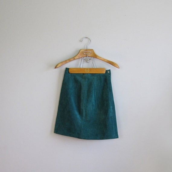 1980s Teal Suede Skirt (Small/Medium)